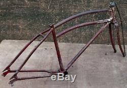 1938 Vintage Prewar Colson Bicycle FRAME TRUSS FORK BADGE Cruiser Schwinn Q Bike
