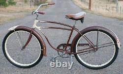 1948 Maroon Vintage AS Schwinn DX Bicycle Skiptooth Chain Cruiser Bike S2 Wheels