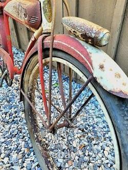 1949 Schwinn PACKARD Autocycle TANK BIKE 26 vtg Red Boys Bicycle, Estate Fresh