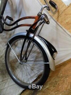 1951 Schwinn Black Phantom Ladies Vintage Bicycle S-2 Springer Panther Tank Rack