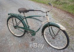 1953 Schwinn Meteor Bicycle Green & White Original Paint Parts Vintage Balloon