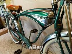 1954 Schwinn Green Phantom Mens Tank Bicycle Vintage Springer Panther Black B6