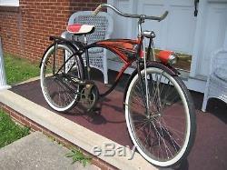 1957 VINTAGE SCHWINN 26 DELUXE HORNET MENS TANK BICYCLE, COMPLETE BIKE! 50's