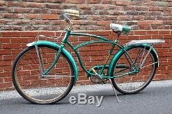 1959 Schwinn American Green vintage bicycle with rear / front rack cruiser boys