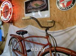 1959 Schwinn Tornado Straightbar Mens Bicycle Red Vintage Typhoon Tank American