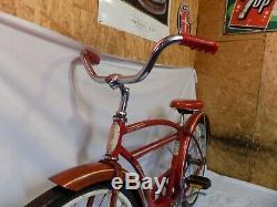 1960 Schwinn Tornado Straightbar Mens 24 Bicycle Red Vintage Typhoon S7 American