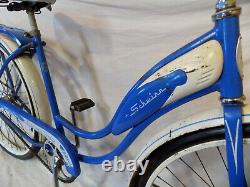 1961 Schwinn Flying Star Vintage Tank Bicycle Rack+headlight Hollywood Blue S7