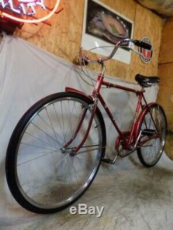 1962 Schwinn Racer Mens 3-speed Deluxe Bicycle Vintage Red Traveler Speedster S5
