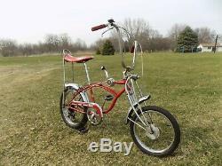1968-69 Schwinn Apple Krate Stingray Vintage Banana Seat Muscle Bike Stik S2 Red