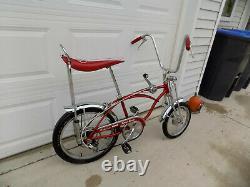 1969 Schwinn Apple Krate Stingray Vintage Banana Seat Muscle Bike Stik S2 Red 69