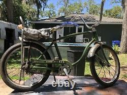 1969 Vintage Schwinn Pixie 16 Stingray Bicycle Campus Green with banana seat