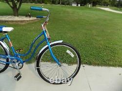 1975 Schwinn Hollywood Ladies Vintage Beach Cruiser Bike Blue Typhoon S7 Jaguar