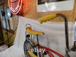 1980 Schwinn Stingray Boys Banana Seat Muscle Bike Red+yellow S7 Vintage Slik