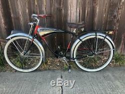 Antique 1952 Schwinn Black Phantom BICYCLE vintage cruiser bike with front BRAKE