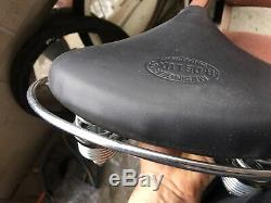 BICYCLE Seat LEATHER Vintage Schwinn MESINGER Troxel Saddle USA with crash rail