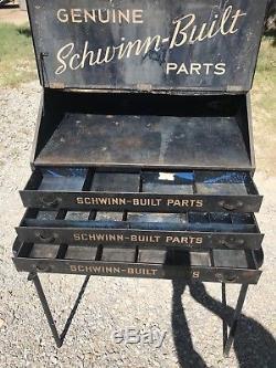Collectable Vintage Antique Schwinn Bicycle Repair Shop Parts Cabinet Tool Box