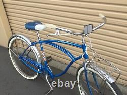RARE VINTAGE 1964 SCHWINN Chicago Made USA Radiant Blue Tiger 2 Speed Kick Back