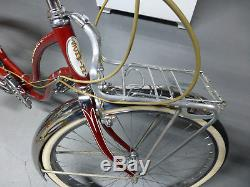 Rare vintage 1959 Schwinn Fair Lady 3 Speed bicycle All original Radiant red