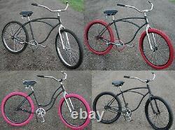 ReCycLeD Vintage Classic Schwinn Flat Black Cruiser BICYCLE HotRod Fat Tire Bike