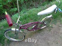 SCHWINN 1965 Violet Super DeLuxe Sting-ray Bicycle-Vintage BikeOriginal May 65