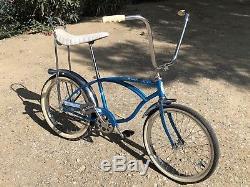 Schwinn Stingray Deluxe 1965 Vintage Nice Original Blue Bicycle USA Tires