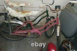 Schwinn Stingray Fair Lady Pink Floral Banana Seat Muscle Bike Vintage Bicycle