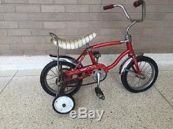 VINTAGE 1967 SCHWINN STINGRAY LIL' TIGER BICYCLE w TRAINING WHEELS 12 RED