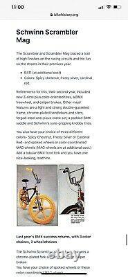 VINTAGE 1982 SCHWINN SCRAMBLER MAG BMX BIKE With CALIPER HAND BRAKES