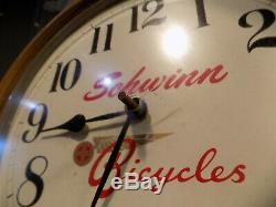VINTAGE SCHWINN BICYCLE DEALER CLOCK 1960s HIGH WHEEL STINGRAY KRATE CORVETTE
