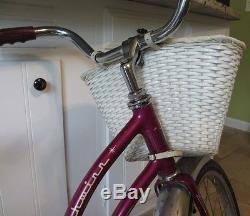 VINTAGE schwinn 20 inch girls hollywood purple bike with vintage basket