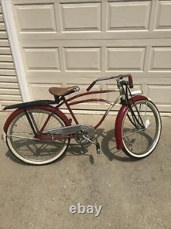 Vintage 1930s Prewar Schwinn Mead Ranger Mens Bicycle Red & White Project Bike