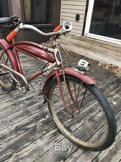 Vintage 1937 Model C Prewar Schwinn Chicago Straight Bar Bicycle Balloon Tire
