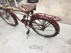 Vintage 1946 Schwinn B6 Autocycle Mens Cadillac Head Badge Balloon Tire