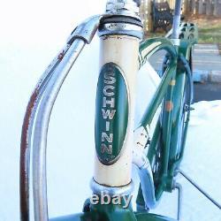 Vintage 1950 Schwinn D-13 Bicycle Hunter Green Excellent Condition Torpedo Light