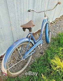 Vintage 1950 Schwinn D-69 Girls 26 DX Tank Bike Blue/White