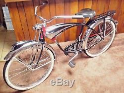 Vintage 1953 SCHWINN BLACK PHANTOM Bicycle -Antique Baloon Tire Bike 26