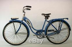 Vintage 1953 Schwinn Hornet Ladies Tank Light Rack Bike Middleweight Blue Troxel