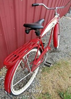 Vintage 1954 Schwinn 26 Spitfire Hornet Red Men's Tank Bike Original Paint