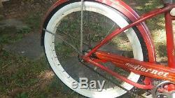 Vintage 1955 Schwinn Hornet Bicycle 24 Duro Balloon Boys Red Cruiser VG