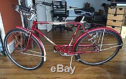 Vintage 1955 Schwinn Men Varsity 3 Speed Bicycle 21 Frame Red Boys 26 Bike