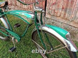 Vintage 1957 Schwinn Green Phantom bicycle. Beautiful. B6 panther hornet