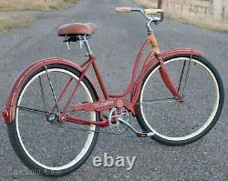 Vintage 1958 Red / Orange Ladies Schwinn Deluxe Spitfire Bicycle Cruiser Bike S7