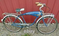 Vintage 1958 Schwinn 26 Boys Mark IV Jaguar Metallic Blue Tank Bike 3-Speed