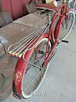 Vintage 1960 Schwinn Deluxe Hornet 26 Men's Bike Metallic Red/Black Springer