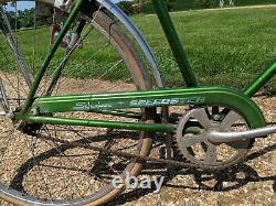 Vintage 1960s Schwinn Speedster Green Bike Bicycle headlamp Rack Barn find SE SD