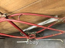 Vintage 1964 Schwinn Middleweight 26 Bicycle Frame, Fork, Crank, Kickstand, Chain