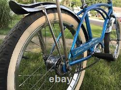 Vintage 1965 Schwinn Stingray Deluxe Blue Two Speed Kickback Blue Band Bicycle