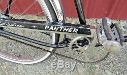 Vintage 1966 Schwinn Panther Slim Line Tank 2-Speed Kickback Bike Black 2-Racks