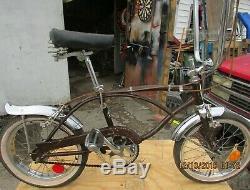 Vintage 1968 SCHWINN RUN ABOUT folding bicycle 3 speed Sierra Brown