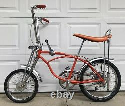 Vintage 1969 Schwinn Stingray Orange Krate Muscle Bike, Old Banana Seat Bicycle